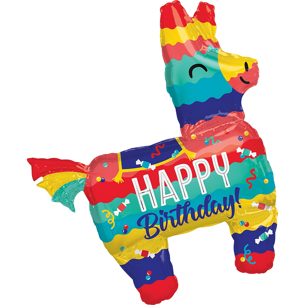 Giant Colorful Llama Happy Birthday Balloon Image 1