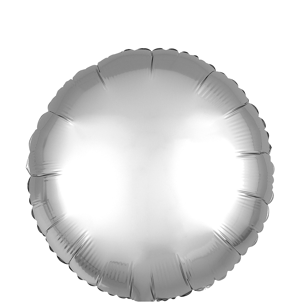 Silver Satin Round Balloon, 17in Image #1
