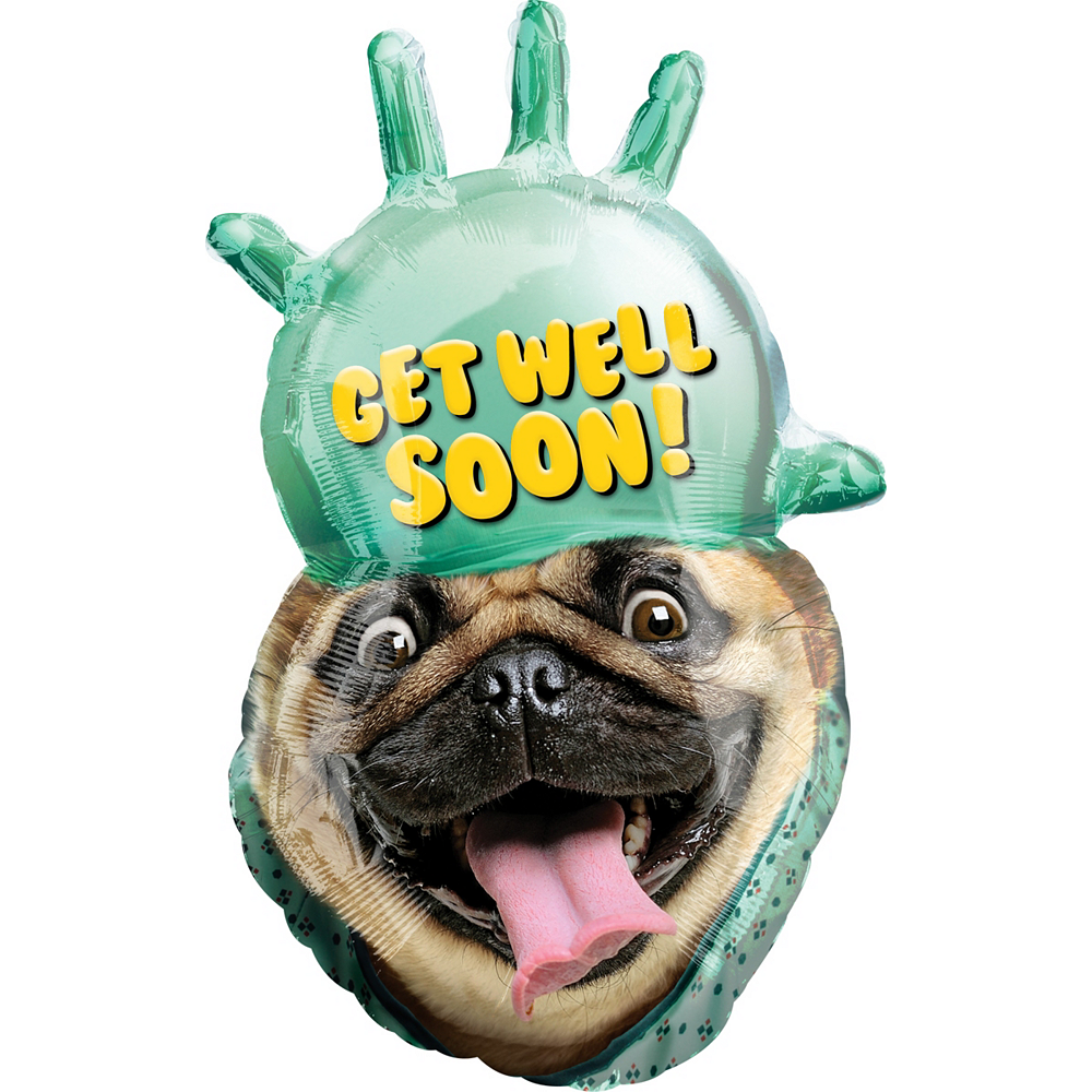 Giant Pug Get Well Soon Balloon 20in X