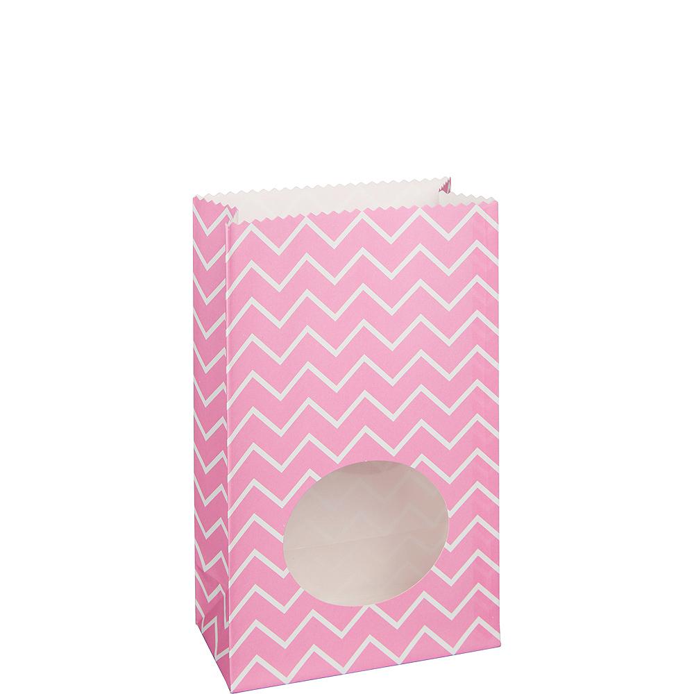 Medium Bright Pink Chevron Paper Treat Bags with Seals 8ct Image #1