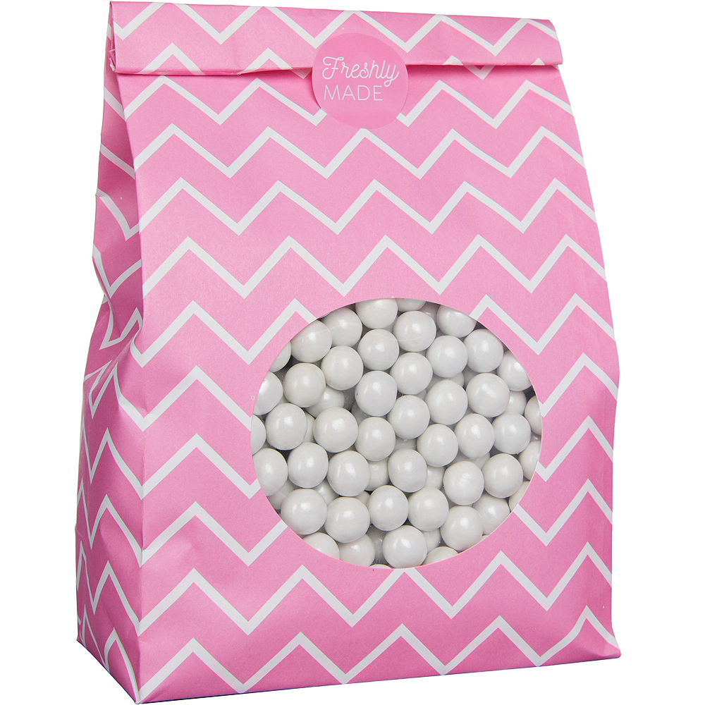 Medium Bright Pink Chevron Paper Treat Bags with Seals 8ct Image #2