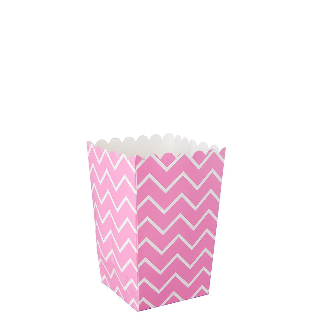Mini Bright Pink Chevron Popcorn Treat Boxes 6ct Image #1