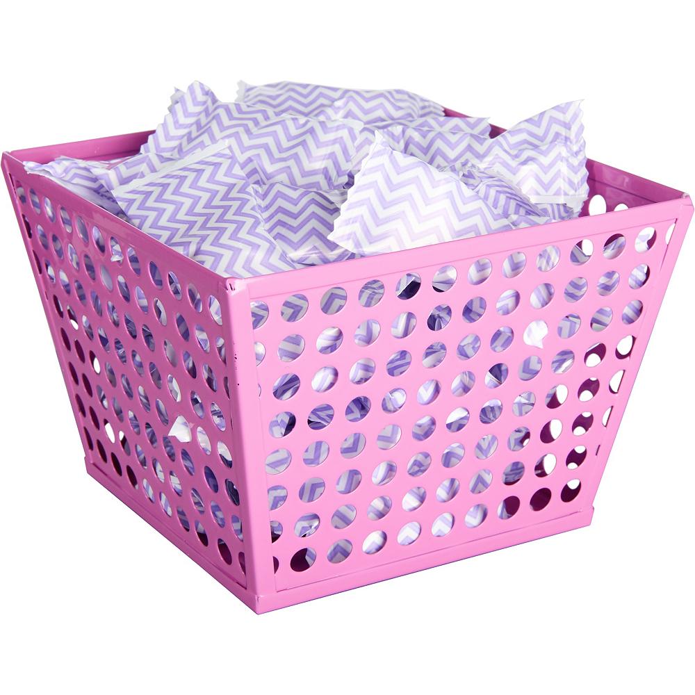 Bright Pink Metal Favor Basket Image #2