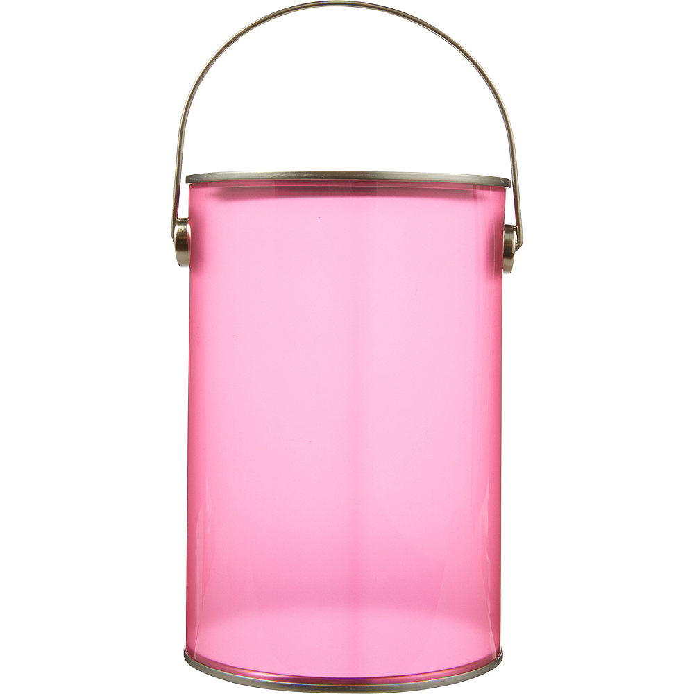 Small Bright Pink Plastic Favor Paint Can 3 3/4in x 5 3/4in | Party City