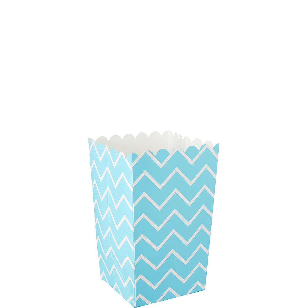 Mini Caribbean Blue Chevron Popcorn Treat Boxes 6ct Image #1