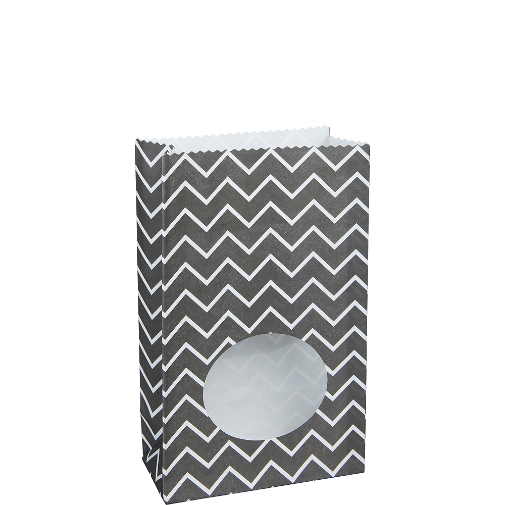Medium Black Chevron Paper Treat Bags With Seals 8ct Image 1