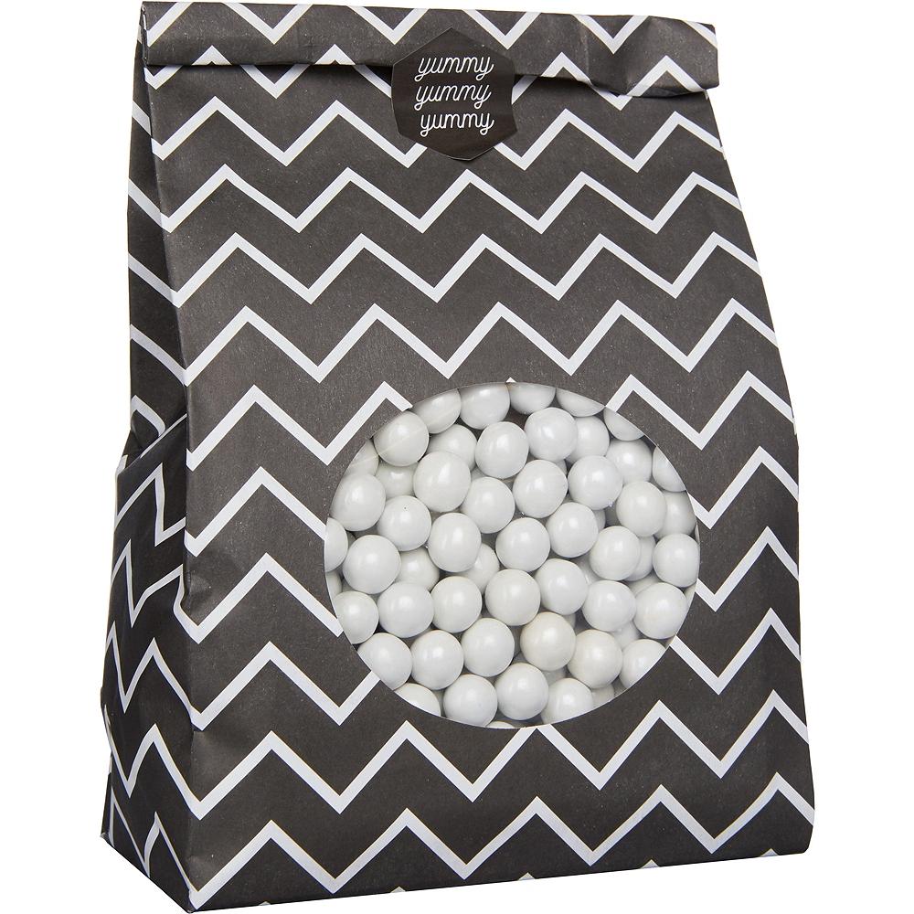 Medium Black Chevron Paper Treat Bags with Seals 8ct Image #2