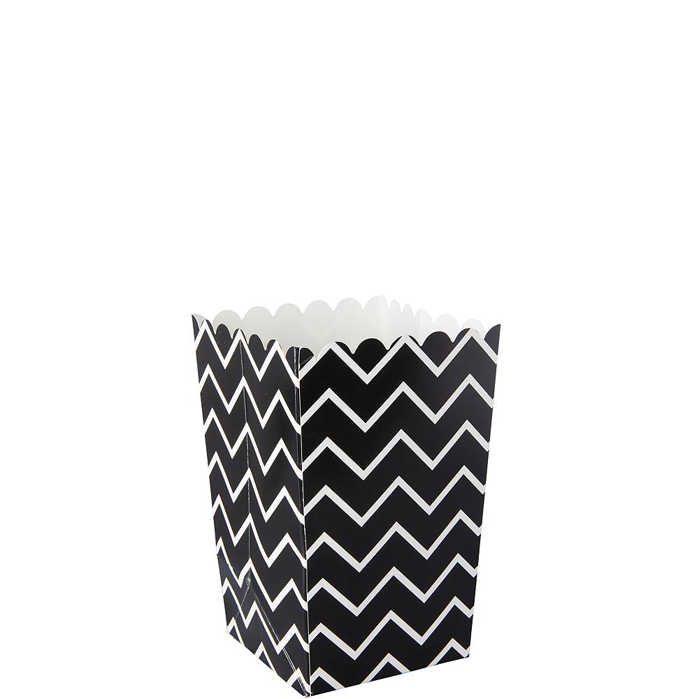 Mini Black Chevron Popcorn Treat Boxes 6ct Image #1