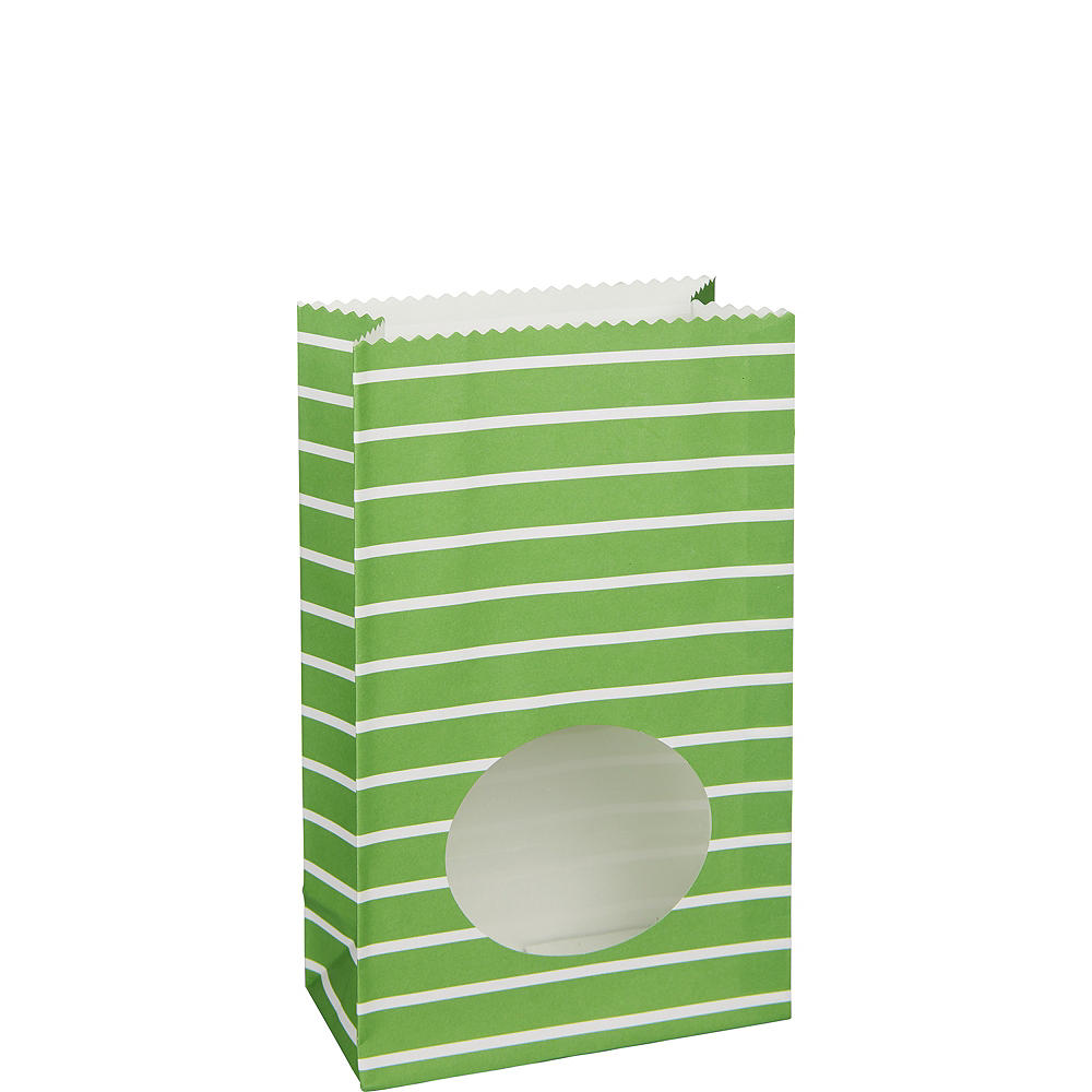 Medium Kiwi Green Striped Paper Treat Bags with Seals 8ct Image #1