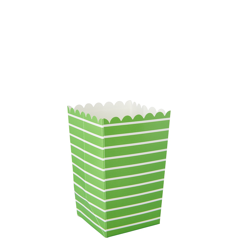 Mini Kiwi Green Striped Popcorn Treat Boxes 6ct Image #1