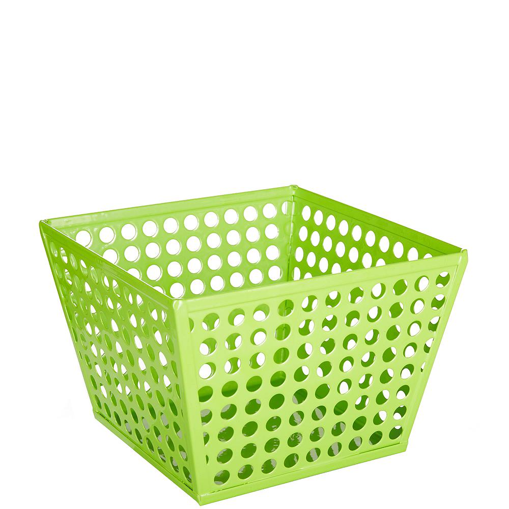 Kiwi Green Metal Favor Basket Image #1
