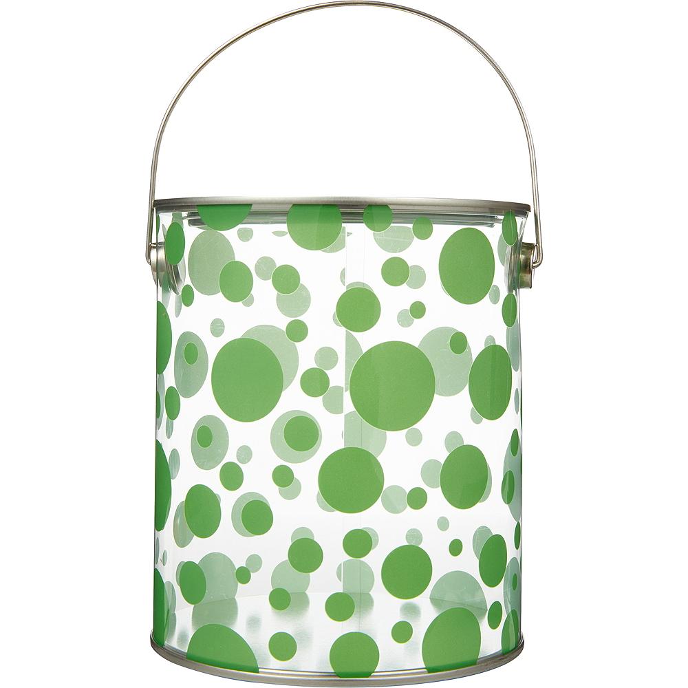 Large Kiwi Green Polka Dot Plastic Favor Paint Can Image #1