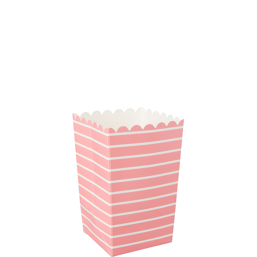 Mini Pink Striped Popcorn Treat Boxes 6ct Image #1