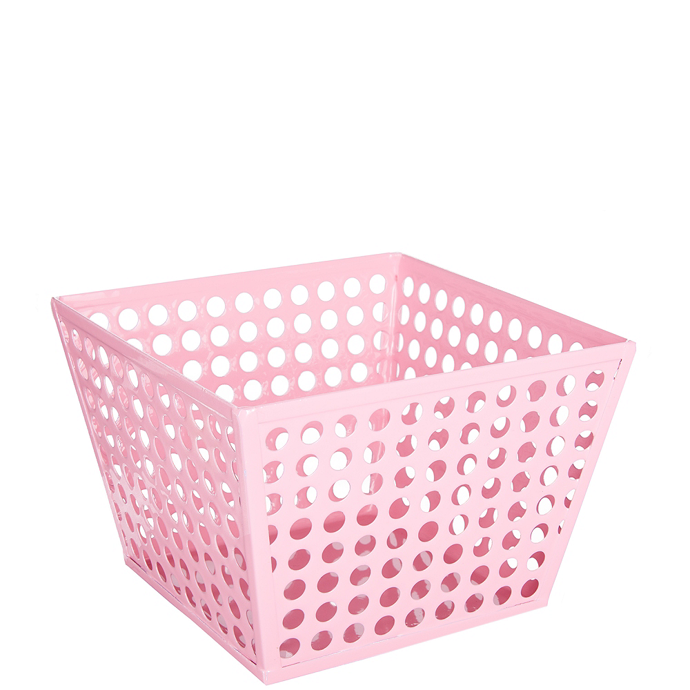 Pink Metal Favor Basket Image #1