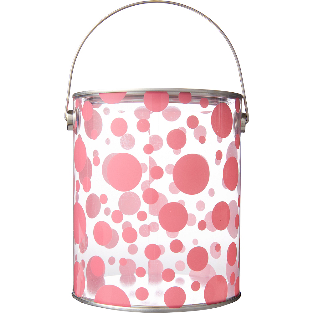 Large Pink Polka Dot Plastic Favor Paint Can Image #1