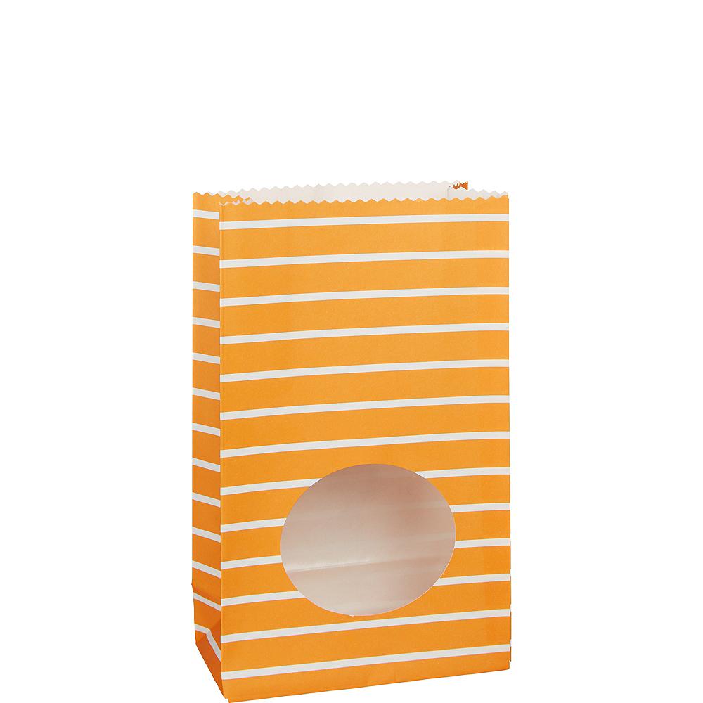 Medium Orange Striped Paper Treat Bags with Seals 8ct Image #1