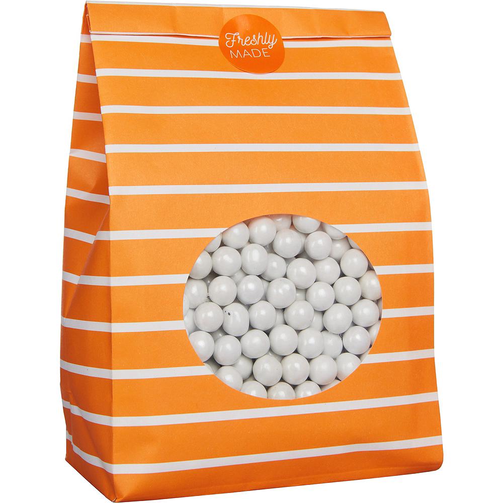 Medium Orange Striped Paper Treat Bags with Seals 8ct Image #2
