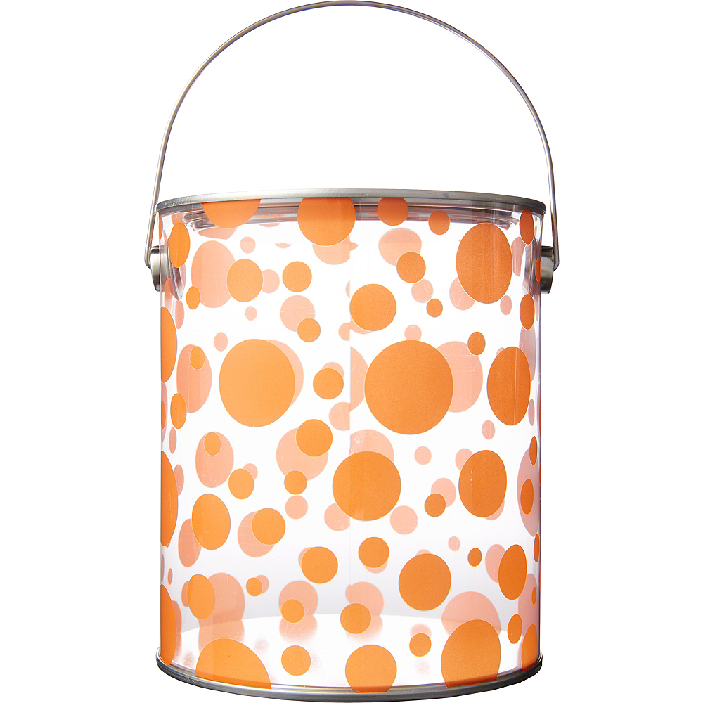 Large Orange Polka Dot Plastic Favor Paint Can Image #1