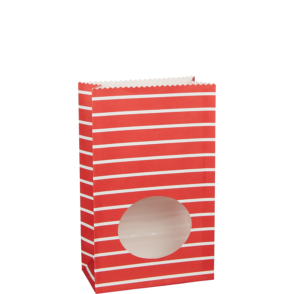 Medium Red Striped Paper Treat Bags with Seals 8ct Image #1