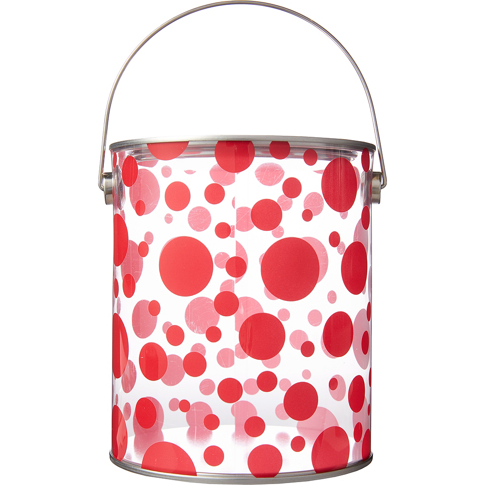 Large Red Polka Dot Plastic Favor Paint Can Image #1