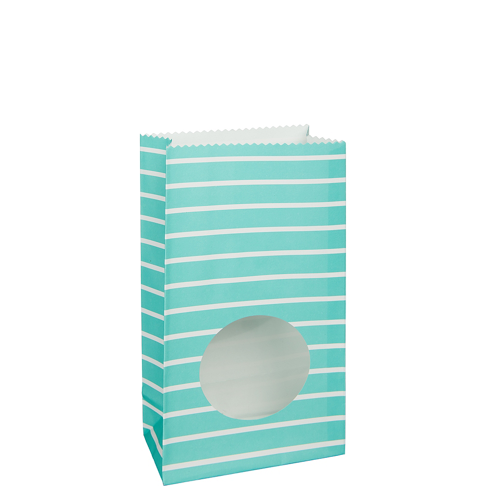Medium Robin's Egg Blue Striped Paper Treat Bags with Seals 8ct Image #1