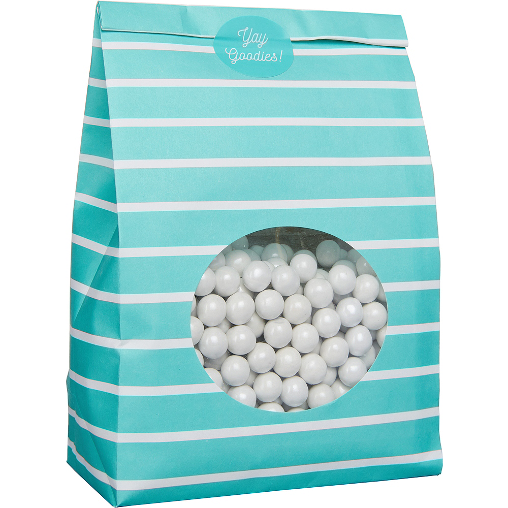 Medium Robin's Egg Blue Striped Paper Treat Bags with Seals 8ct Image #2
