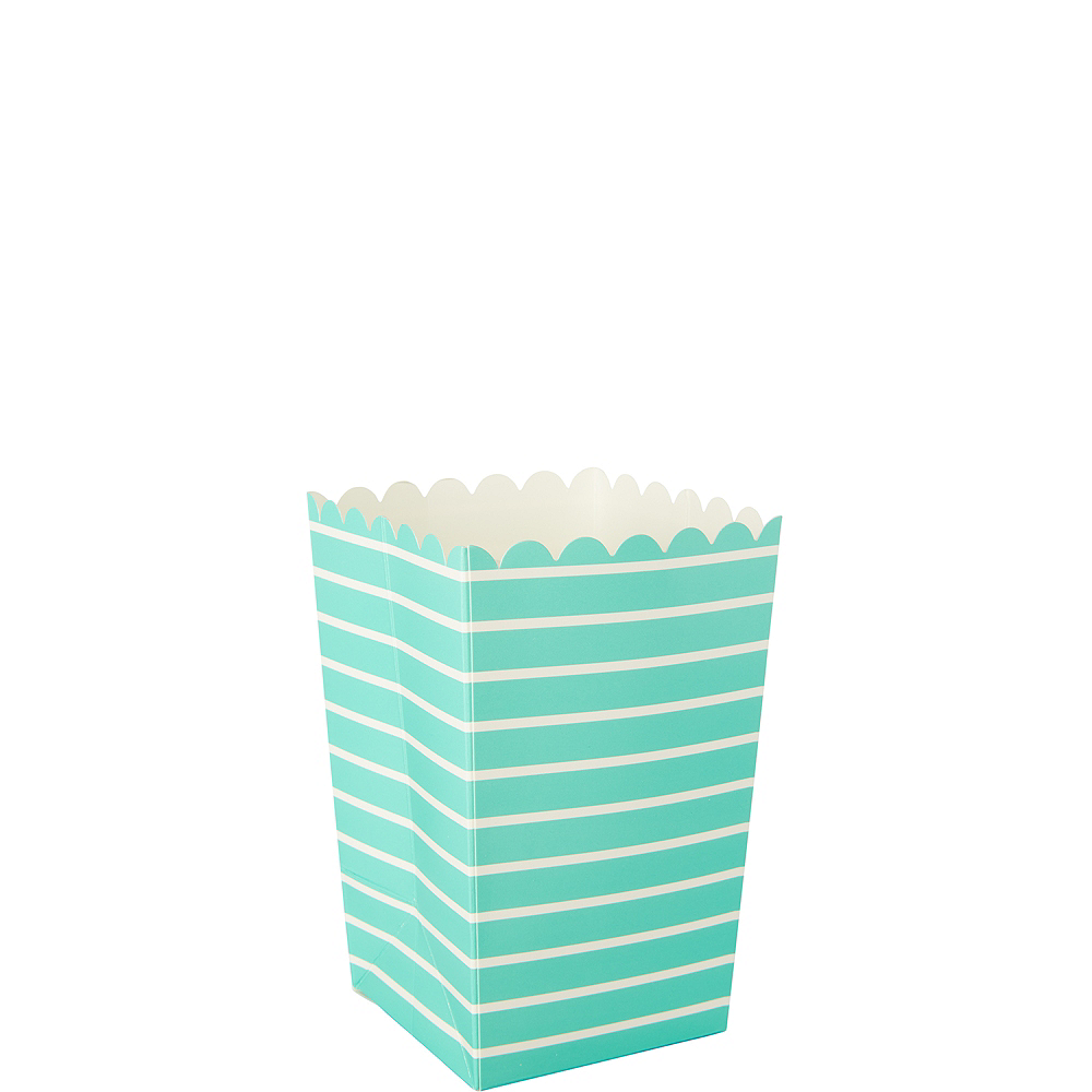 Mini Robin's Egg Blue Striped Popcorn Treat Boxes 6ct Image #1