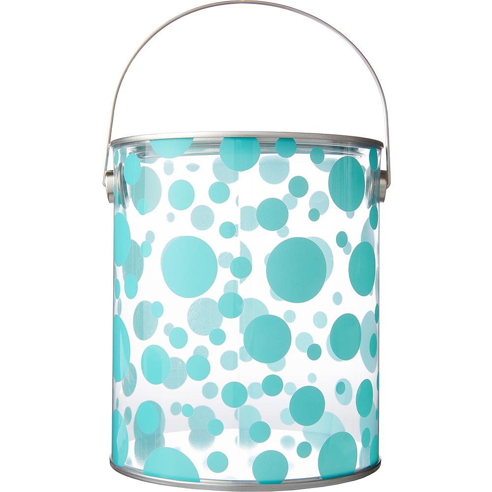 Large Robin's Egg Blue Polka Dot Plastic Favor Paint Can Image #1