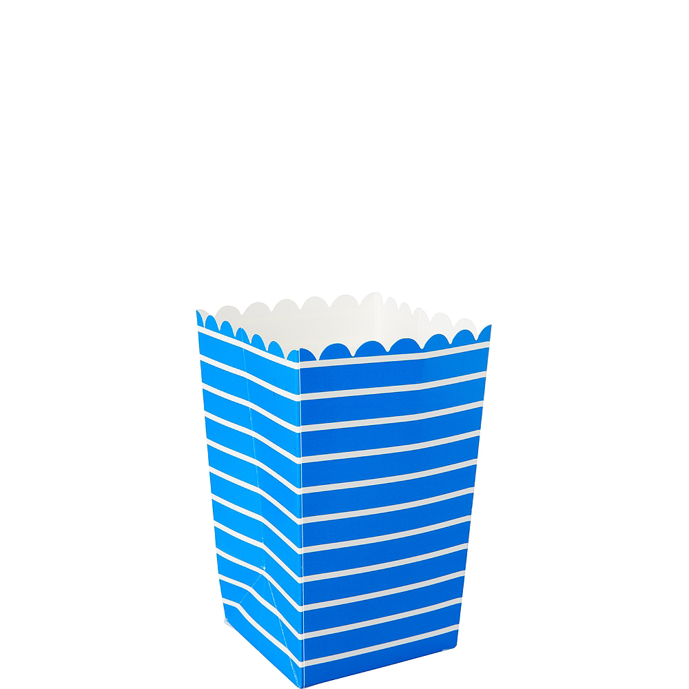 Mini Royal Blue Striped Popcorn Treat Boxes 6ct Image #1