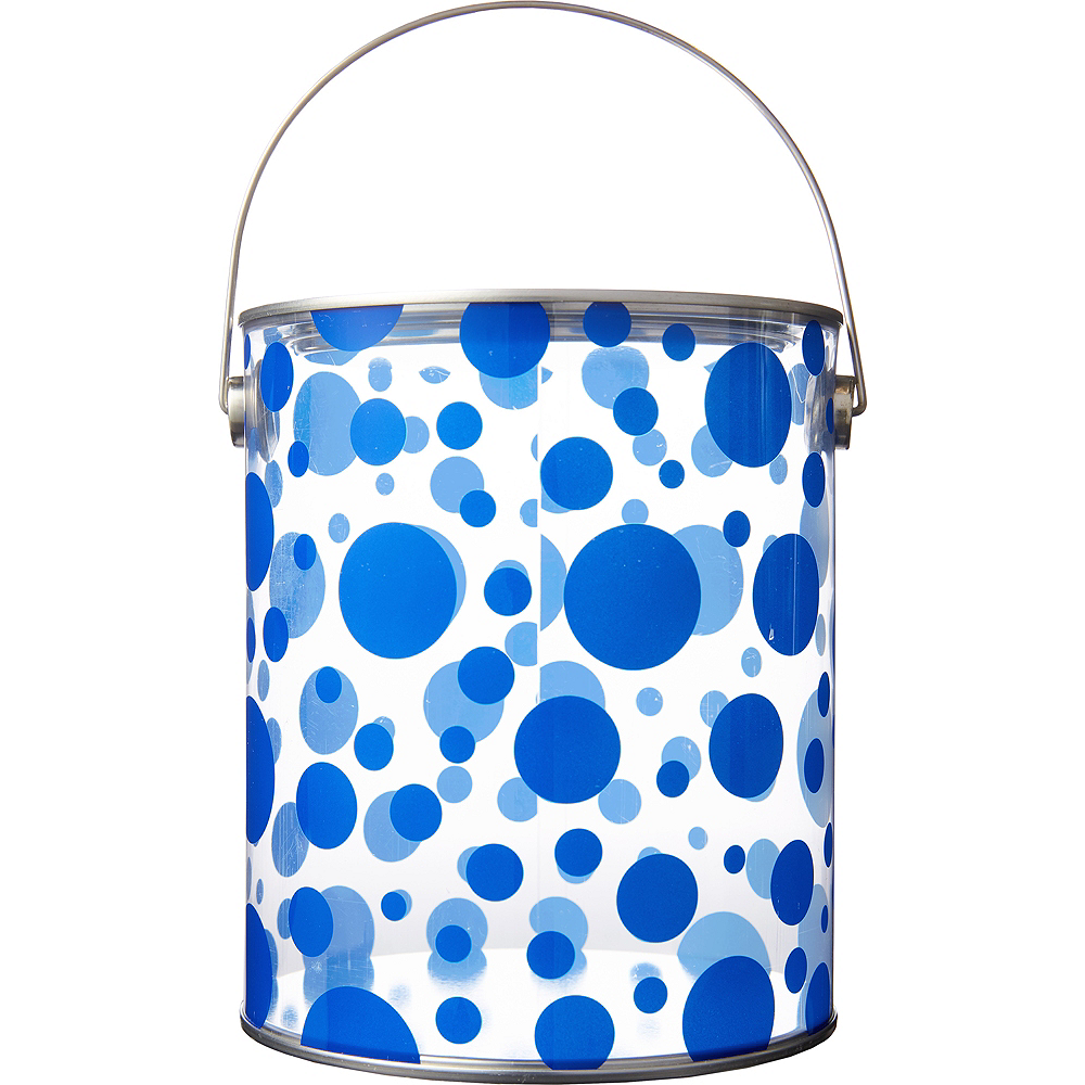 Large Royal Blue Polka Dot Plastic Favor Paint Can Image #1
