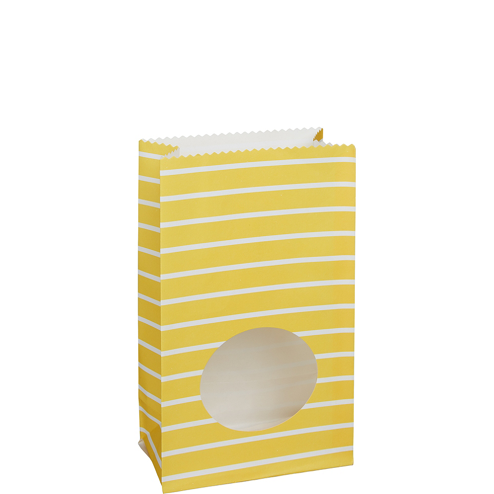 Medium Sunshine Yellow Striped Paper Treat Bags with Seals 8ct Image #1