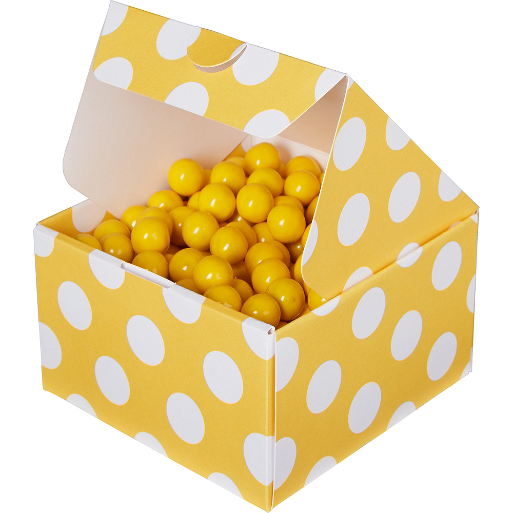 Sunshine Yellow Polka Dot Treat Boxes 10ct Image #1