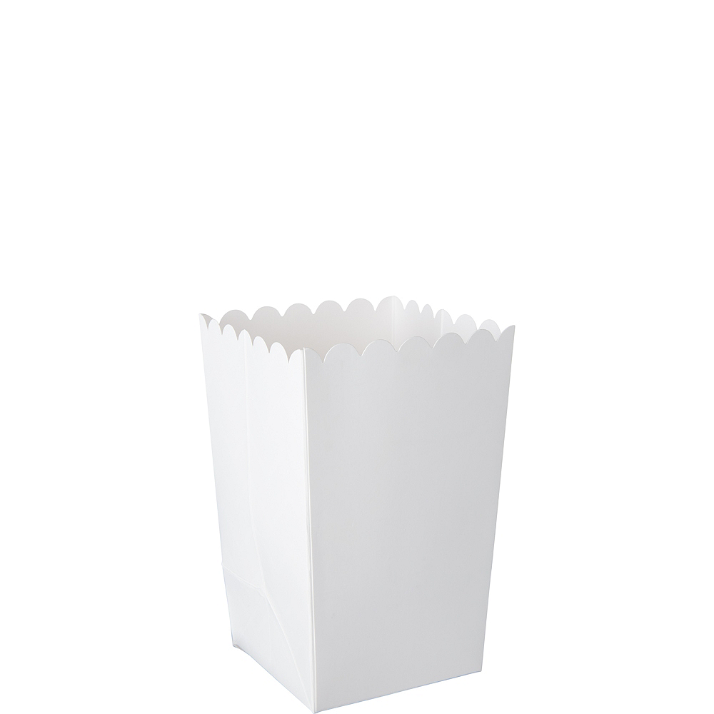 Mini White Popcorn Treat Boxes 6ct Image #1