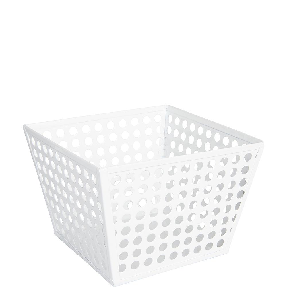 White Metal Favor Basket Image #1