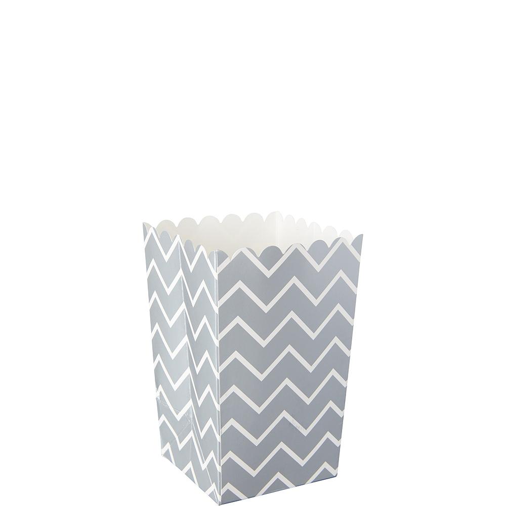 Mini Silver Chevron Popcorn Treat Boxes 6ct Image #1