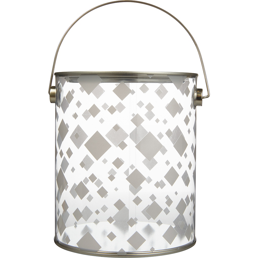 Large Silver Square Plastic Favor Paint Can Image #1