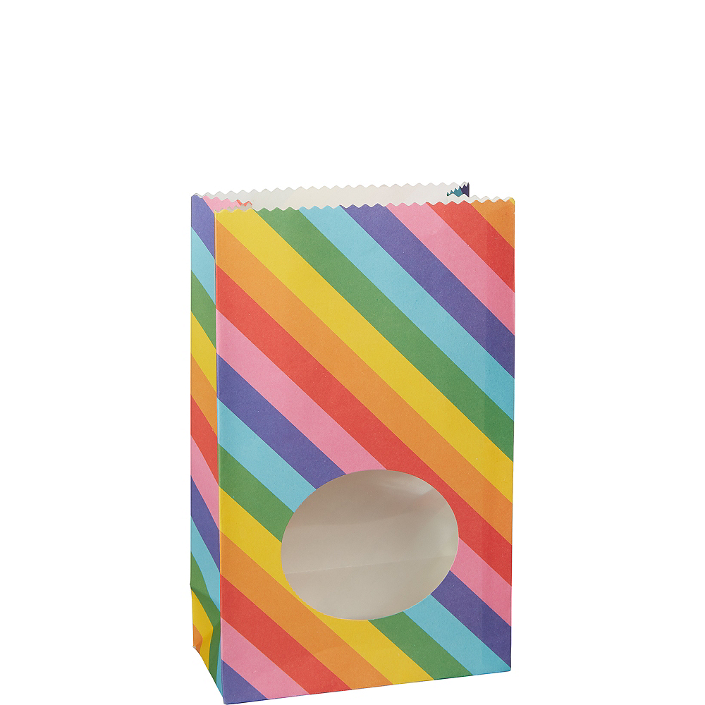 Medium Rainbow Striped Paper Treat Bags with Seals 8ct Image #1