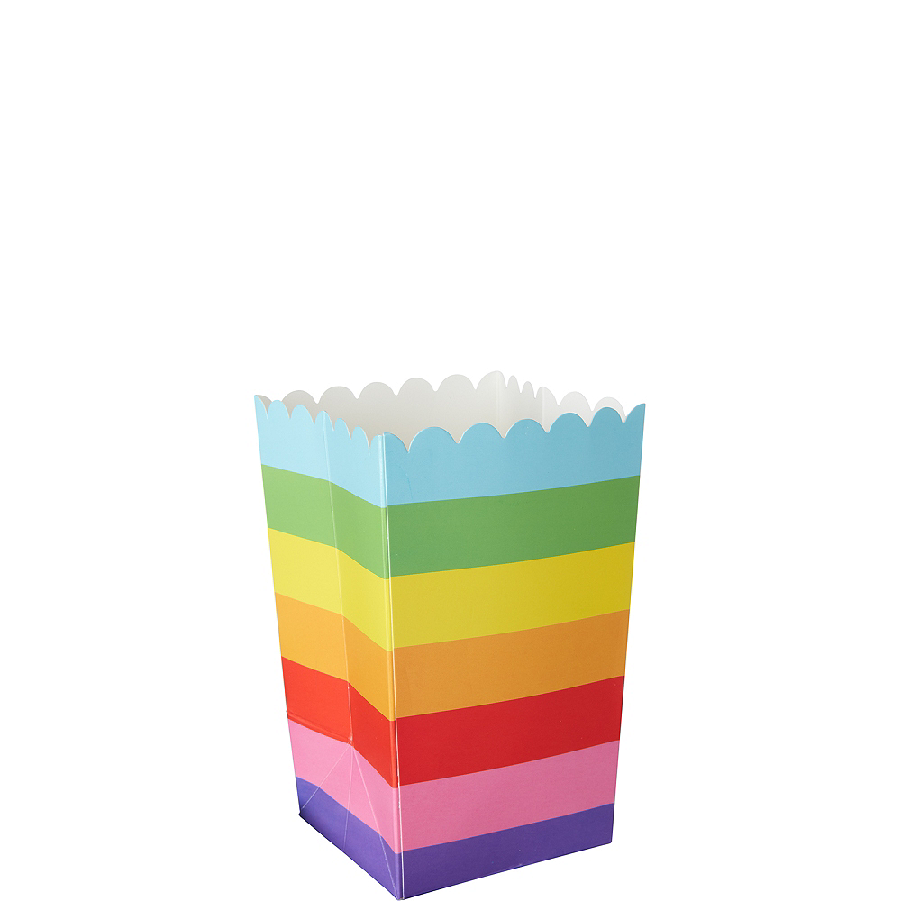 Mini Rainbow Striped Popcorn Treat Boxes 6ct Image #1