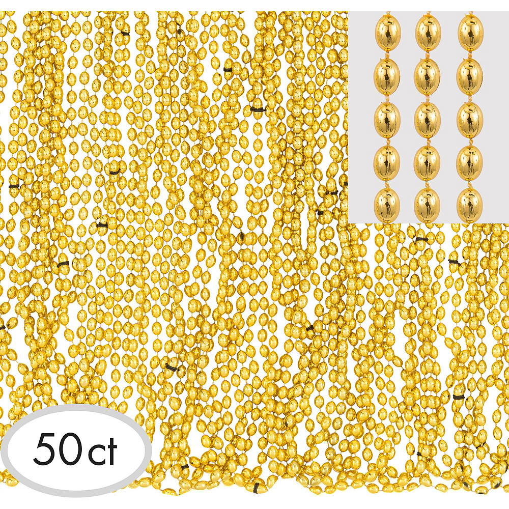 Metallic Gold Bead Necklaces 100ct Image #2