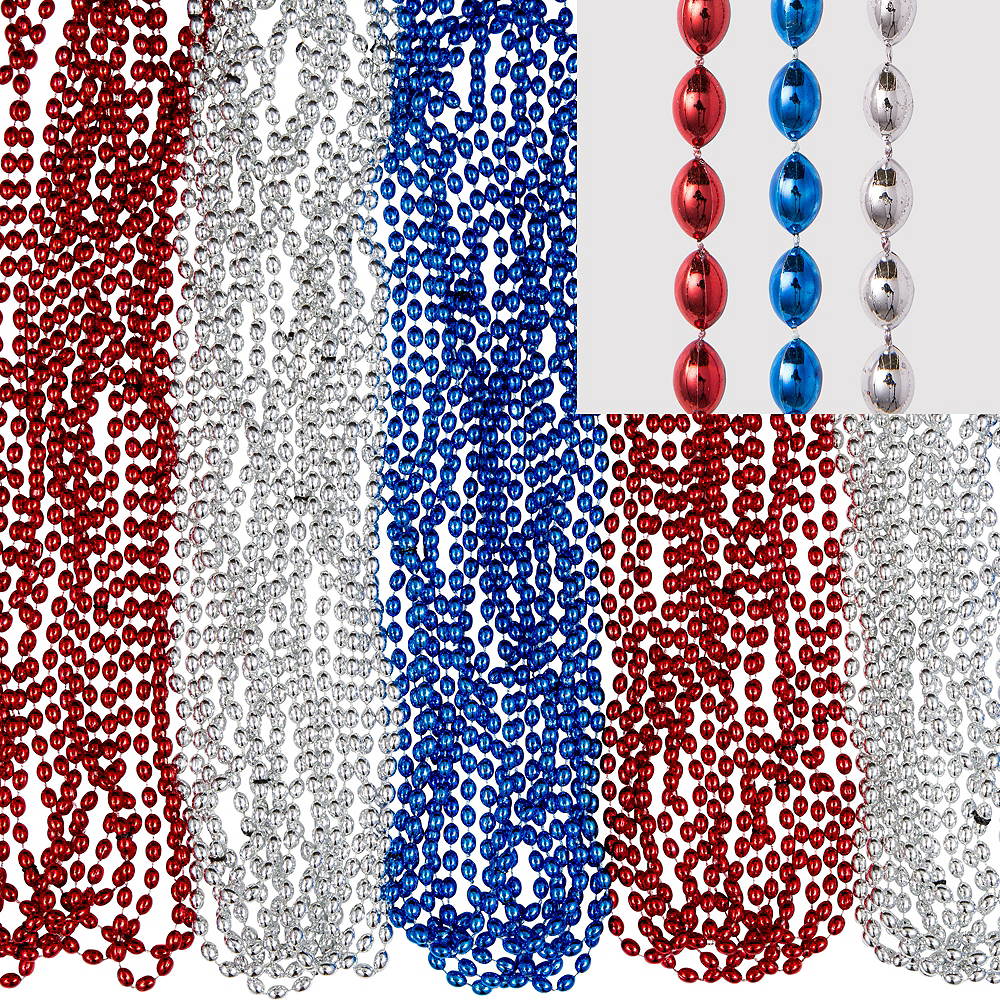 Red, White & Blue Bead Necklaces 100ct Image #1