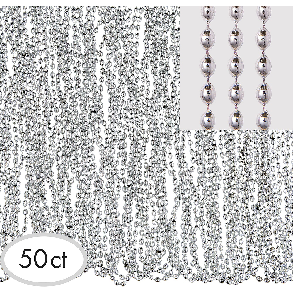 Metallic Silver Bead Necklaces 100ct Image #2