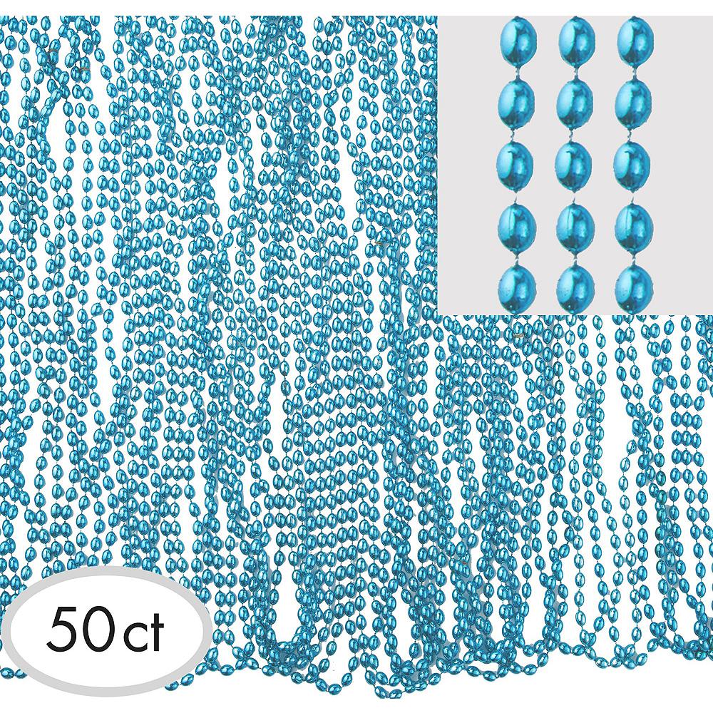 Metallic Light Blue Bead Necklaces 100ct Image #2