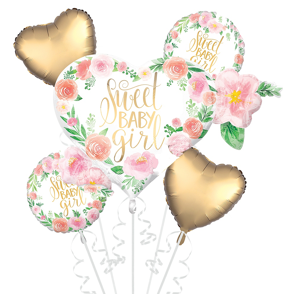 Floral sweet baby girl balloon bouquet 5pc party city floral sweet baby girl balloon bouquet 5pc image 1 izmirmasajfo