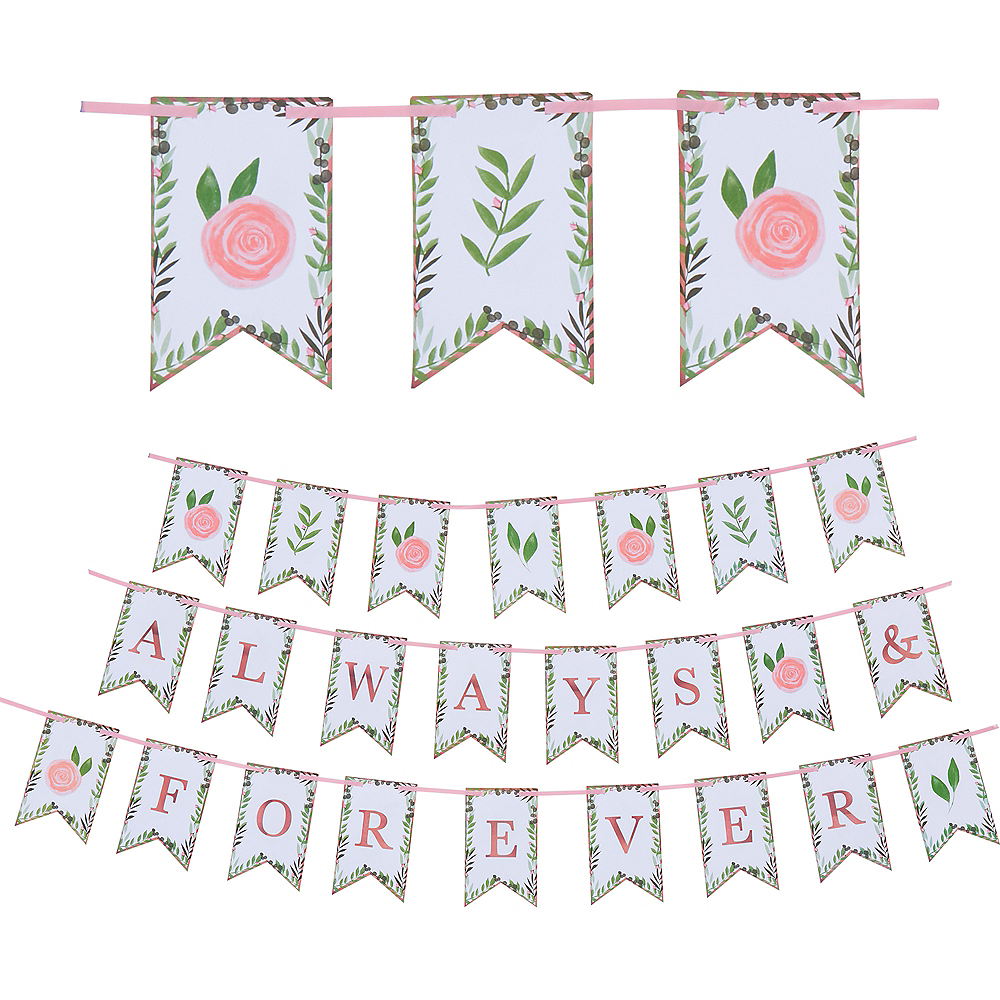 Floral Greenery Always & Forever Pennant Banner Image #1