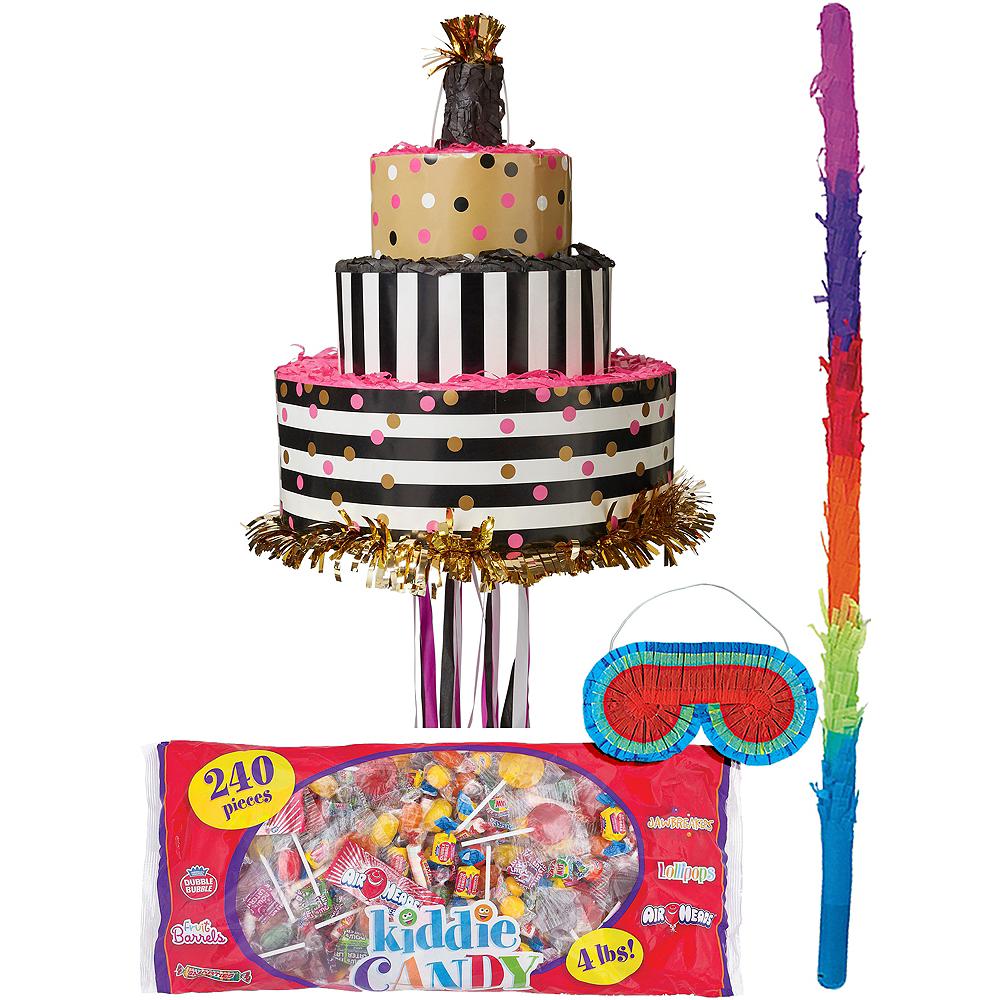 Surprising Pull String Gold Pink Birthday Cake Pinata Kit 10 3 4In X 12In Funny Birthday Cards Online Benoljebrpdamsfinfo