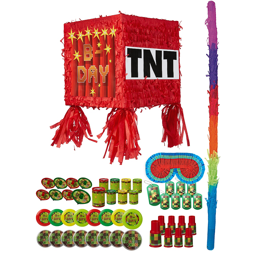 Pixelated TNT Block Pinata Kit with Favors Image #1