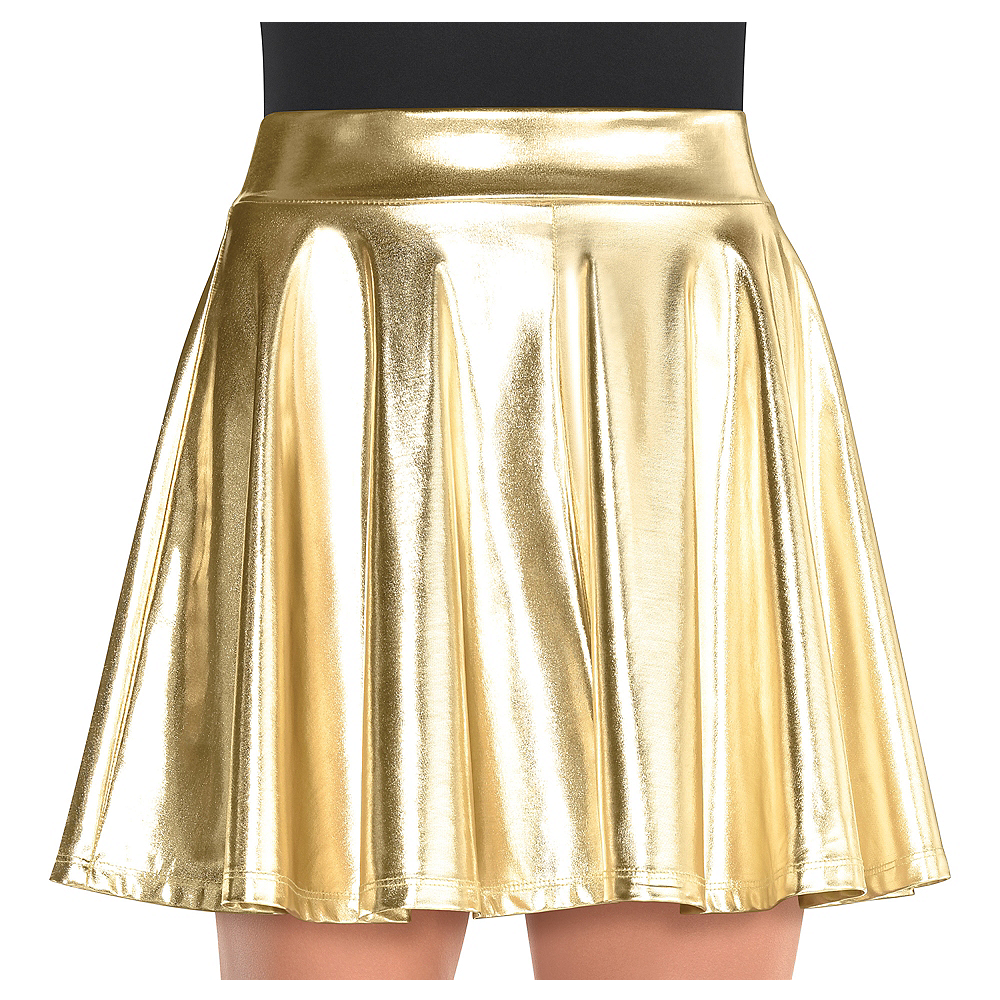 Womens Gold Flare Skirt Image #1