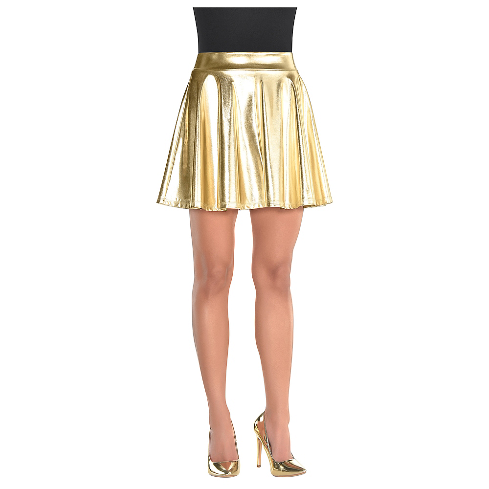 Womens Gold Flare Skirt Image #2