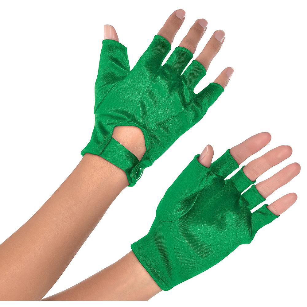 Adult Green Fingerless Gloves Image #1