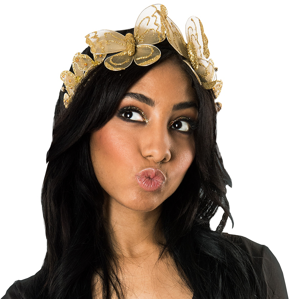 Glittery Golden Butterfly Headpiece Image #1